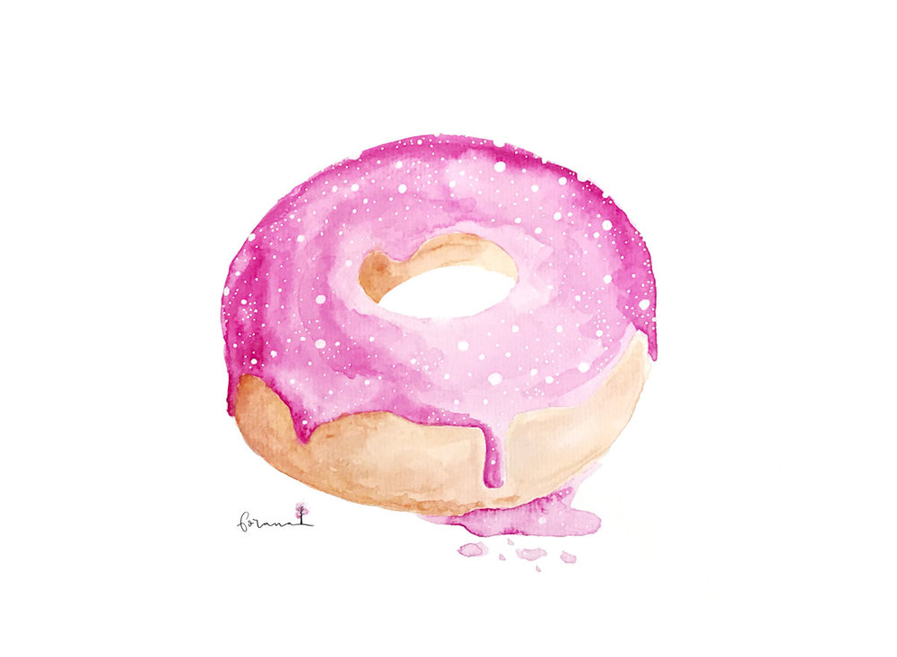 love. life. - Donut.---Minimal Watercolor Design