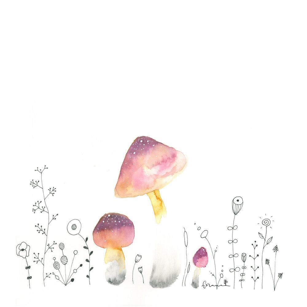 Pilze - im Blumenland---Minimal Watercolor Designund Fineliner