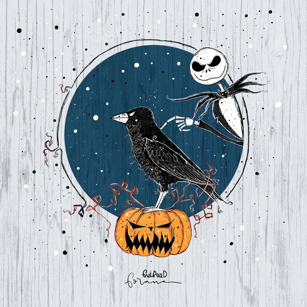 Halloween - .Tribut an Tim Burton und alle Raben der Welt, weil sie so wunderbare Tiere sind.---Photoshopam iPad mit Apple Pencil