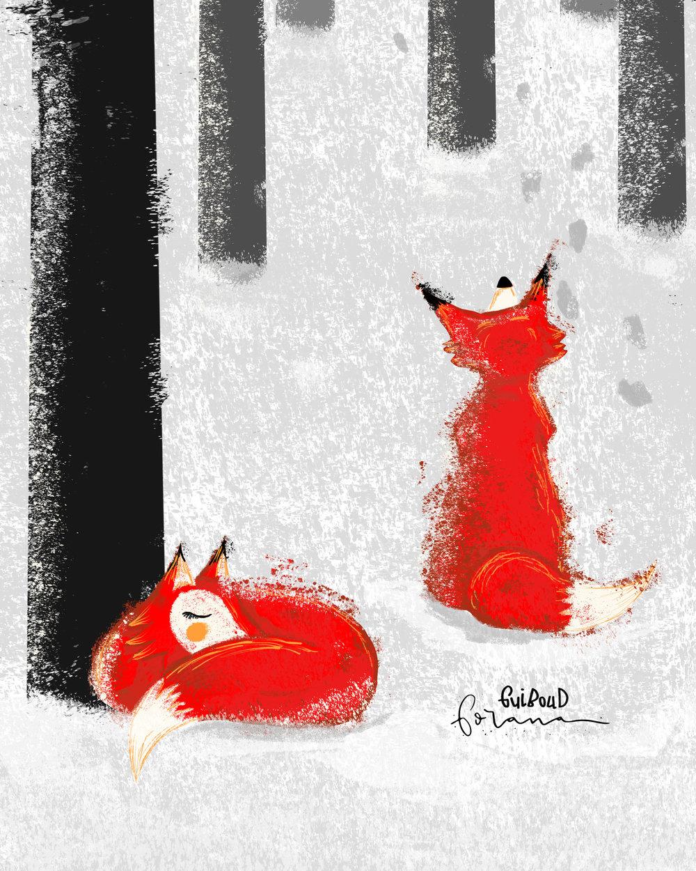 Füchse - im Schneewald---Photoshopam iPad mit Apple Pencil