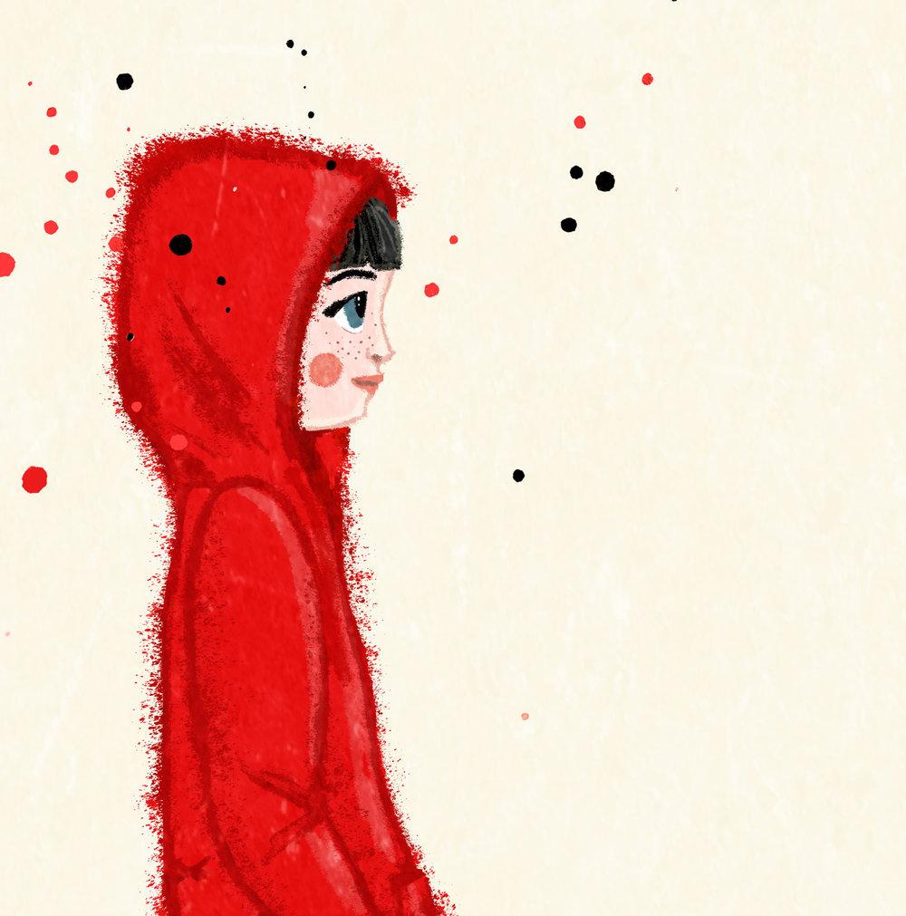 Herzensprojekt - Das Rotkäppchen ist auf dem Weg zu ihrer Großmutter, um mit ihr zusammen den Christbaum zu schmücken. In Gedanken versunken, merkt sie gar nicht, dass sie ein Kügelchen verloren hat.---Photoshopam iPad mit Apple Pencil