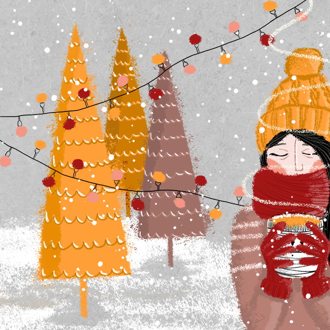 """Holyday Card - Contest - I submitted this illustration to the #MATSholidaycardcontest of the great Lilla Rogers and her @makeartthatsellsThere is nothing more beautiful than this moment of the year, when I'm at this little Christmas Market in my hometown, holding a big cup of """"Glühmost"""" in my hands, wrapped up in a very thick scarf, with furry gloves, and wearing my favourite winter sweatshirt. And then when everything is perfect, it always starts to snow big snowflakes.I would loooove to see my illustration moving, animated by the wonderful @natashadewitz. The snow is falling, the lights are blinking or even the warm steam of the Glühmost is floating.---Photoshopam iPad mit Apple Pencil"""
