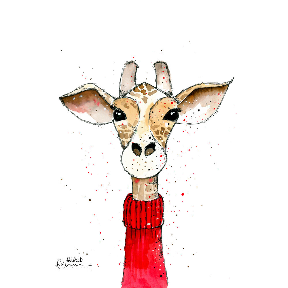 Giraffe - im roten Rollkragenpullover---Aquarell und Fineliner