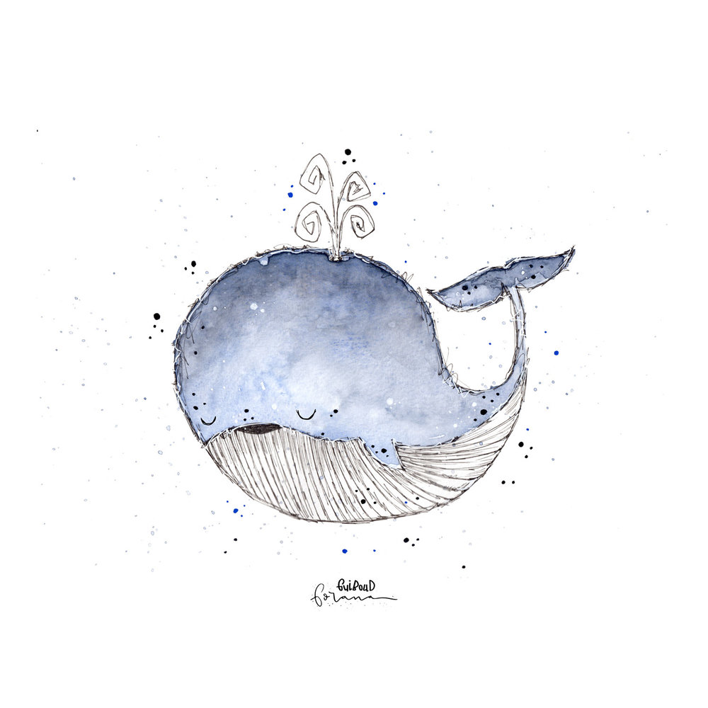 Blauwal - ---Aquarell und Fineliner
