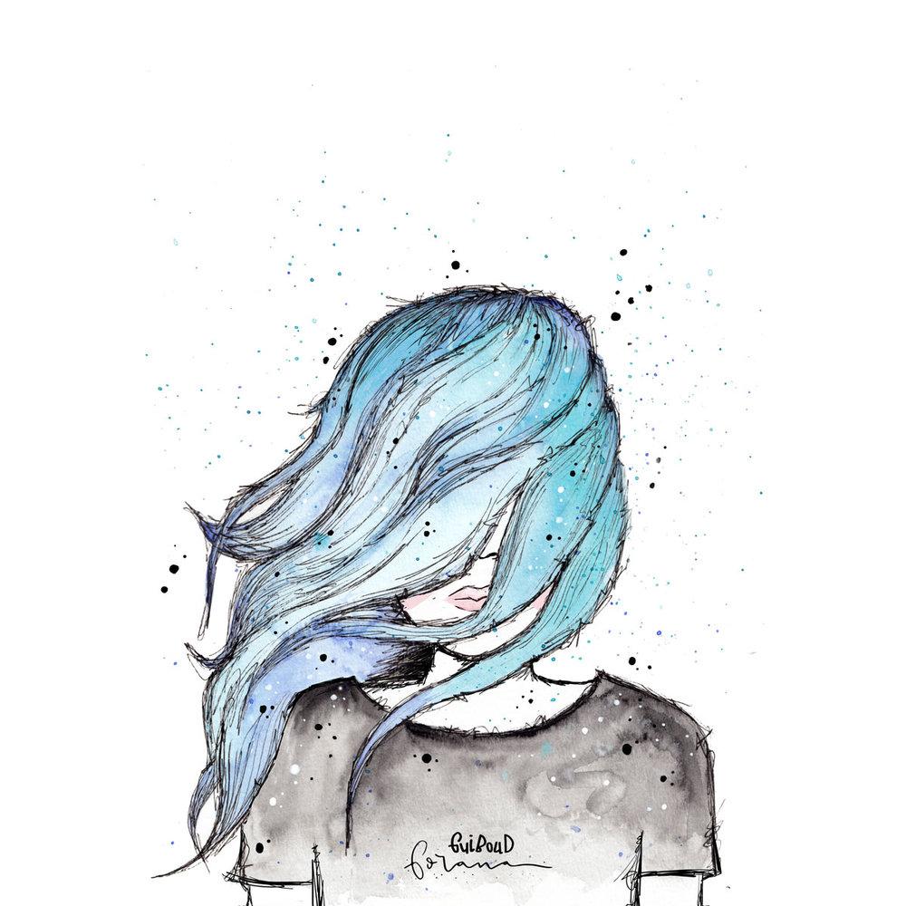Kein Durchblick - Ich kann aktuell meinen Weg noch nicht klar vor mir sehen, denn irgendetwas verschleiert mir den Blick. Ich hoffe natürlich, es sind tatsächlich nur Haare, denn die kann ich mir selbst ganz einfach mit der Hand aus dem Gesicht wischen.---Aquarell und Fineliner
