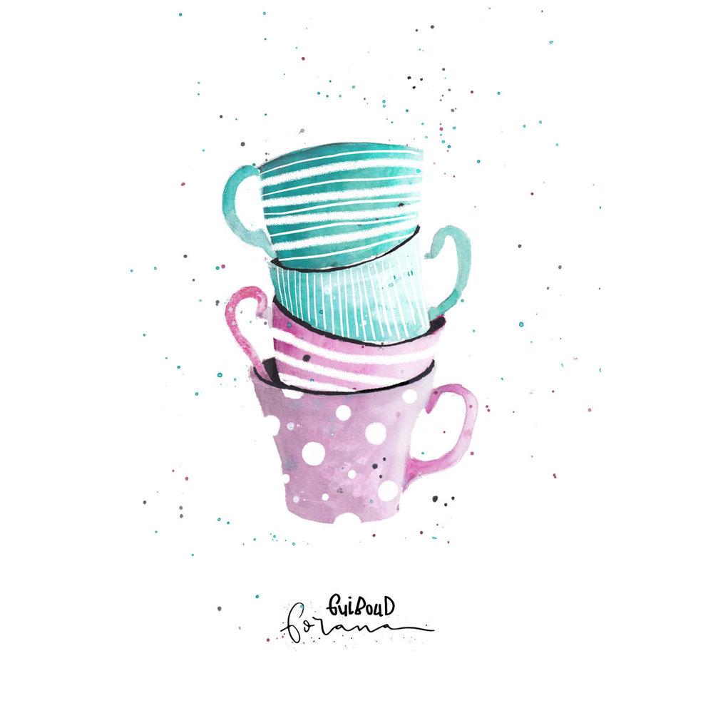 Cups - Man kann nie genug Tassen im Schrank haben---Aquarell