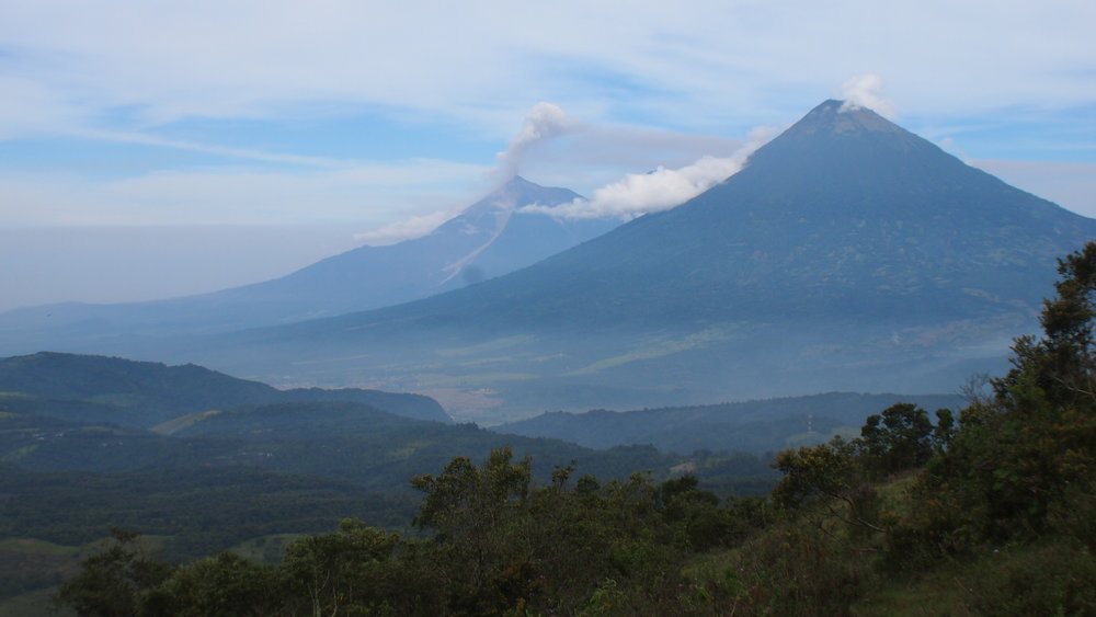 View from Volcan Pacaya towards Agua & Fuego Volcanoes.JPG