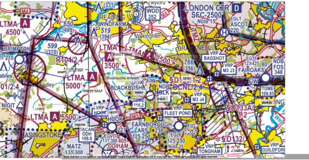 Figure 3 -  illustrates the Runway 25 IAP and the airspace local to Farnborough Airport.