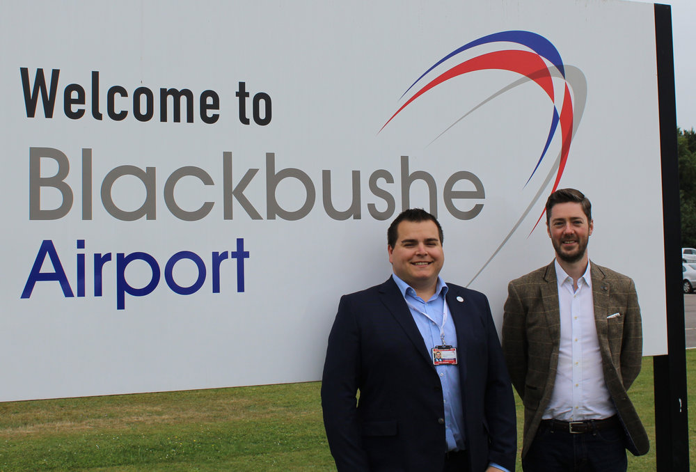 Left: Chris Gazzard, Blackbushe Airport manager. Right: Russell Halley, Air BP general aviation regional sales manager, UK