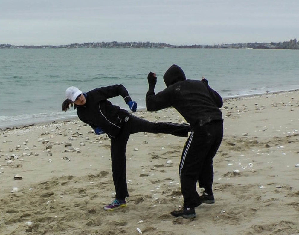 Training at Revere Beach with Alpha Krav Maga Boston