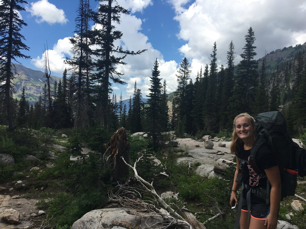Katherine backpacking the Alaskan Basin trail in Eastern Idaho