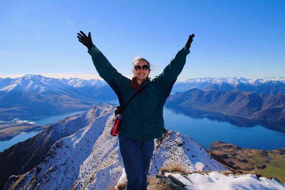 Sara in New Zealand at Roy's Peak in Wanaka during her study abroad at the University of Otago last August