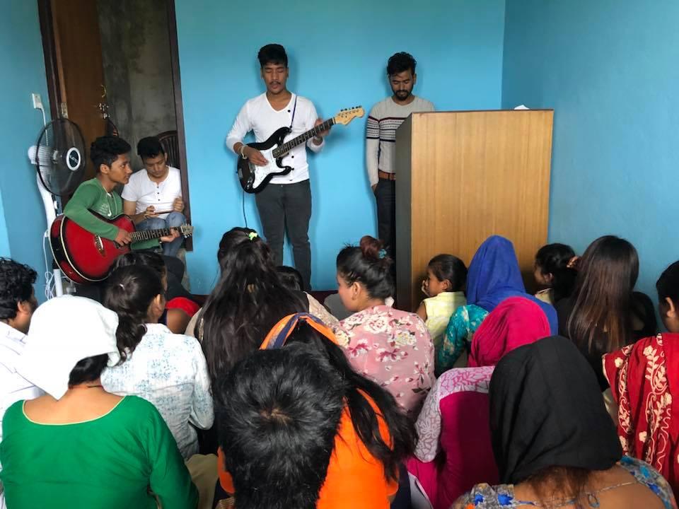 Church service in a village near Kathmandu.