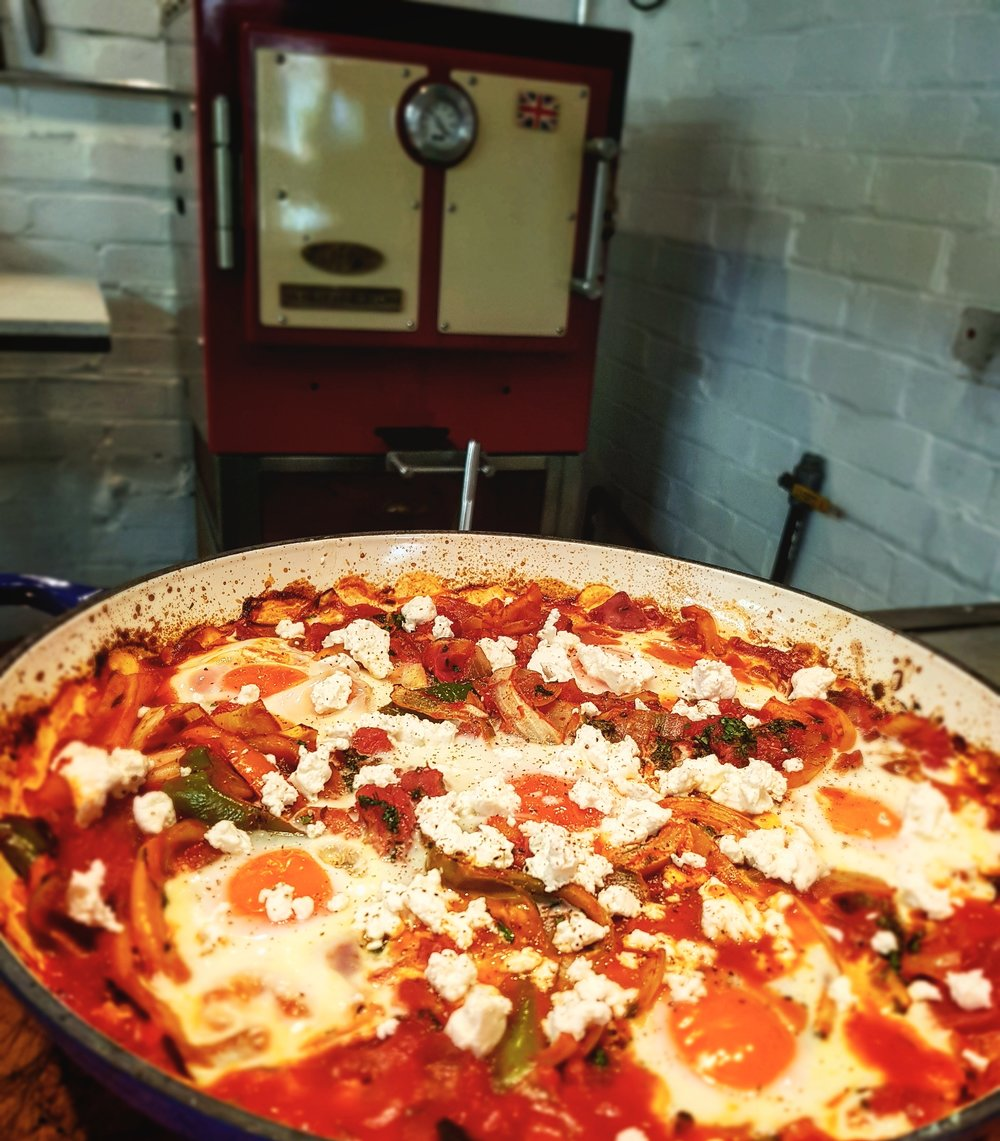 A beautiful Harrison Charcoal oven makes a perfect Shakshuka