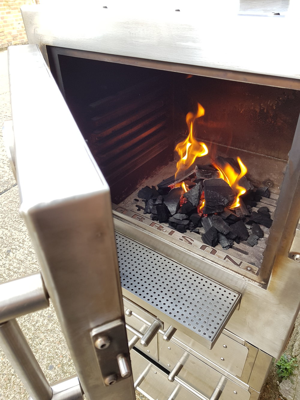 The 6mm stainless steel walls of a Harrison Charcoal oven create an even, radiant heat.