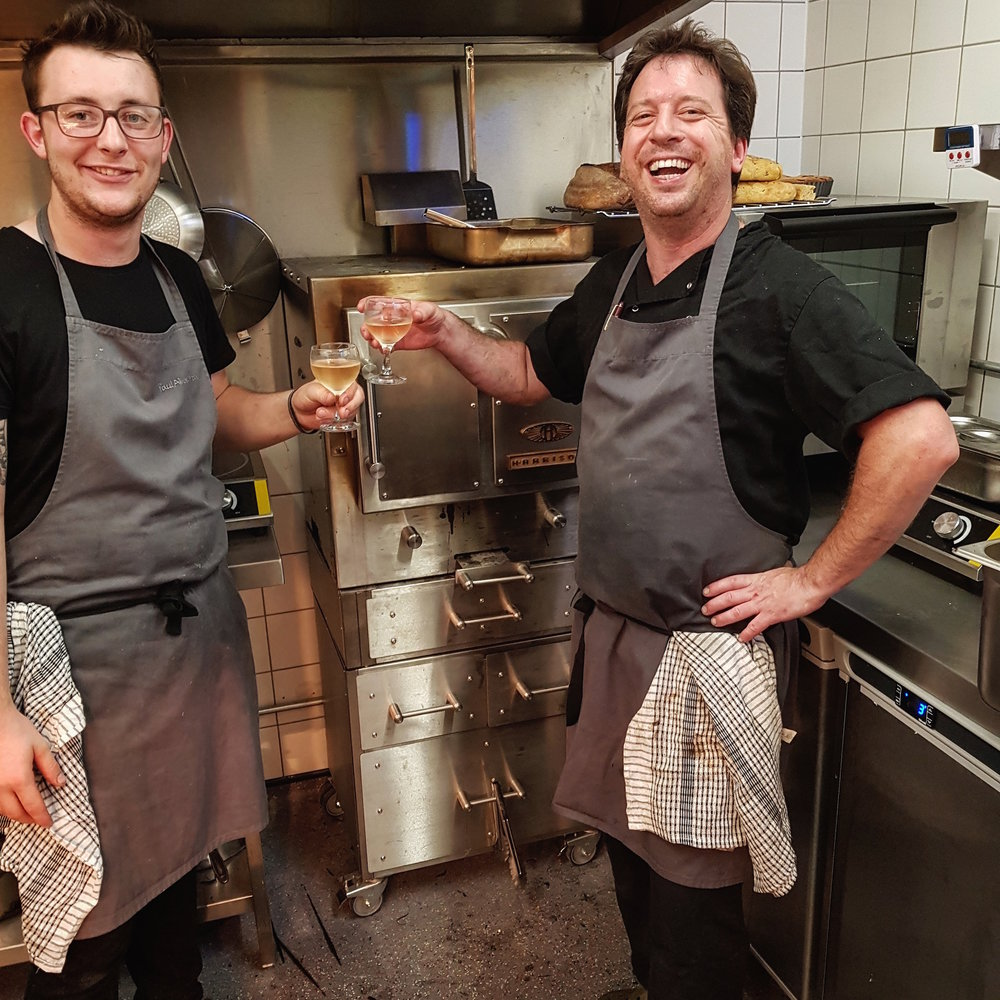 Head chef / patron Rob Cooper and Sous Chef Will Burnett toasting their Harrison Charcoal oven after a hugely successful opening night.