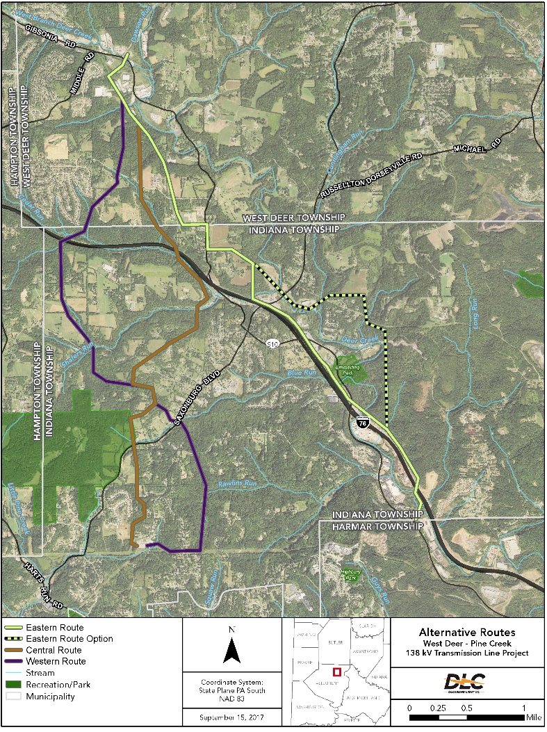 We oppose all routes (orange and purple) that go through the AG Zone.    Source:  DUquesne LIght Company