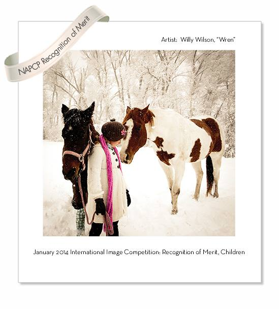award winning family photographer denver - photo of girl with two horses in snow with award scross