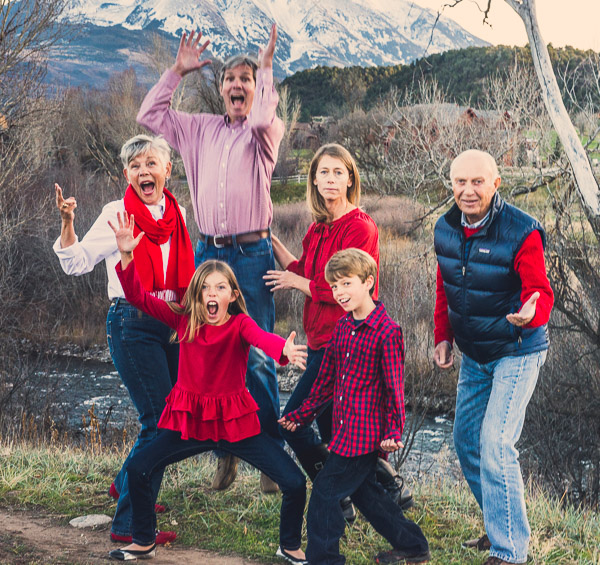 Goofy multigenerational photo in front of a Mt. Sopris.