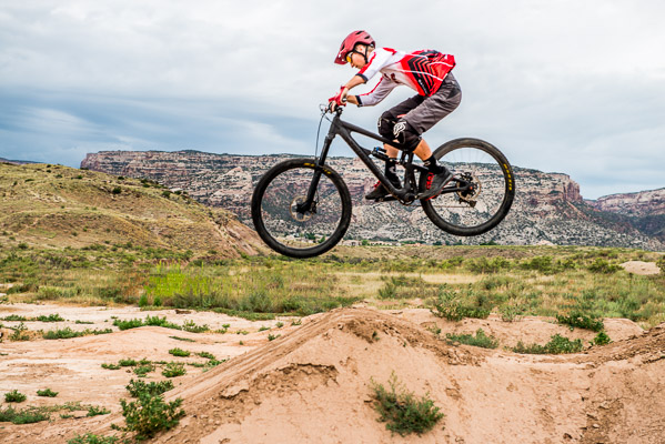 Catching air at the Grand Junction National Monument.