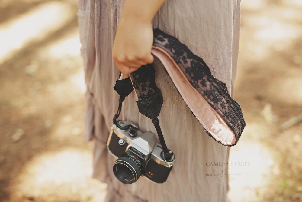Black lace camera strap