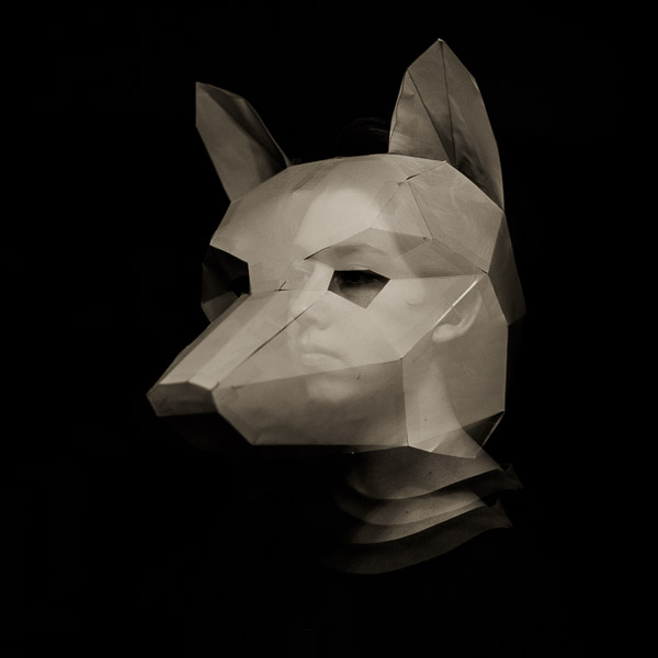 Fox mask with boy face inside double exposure