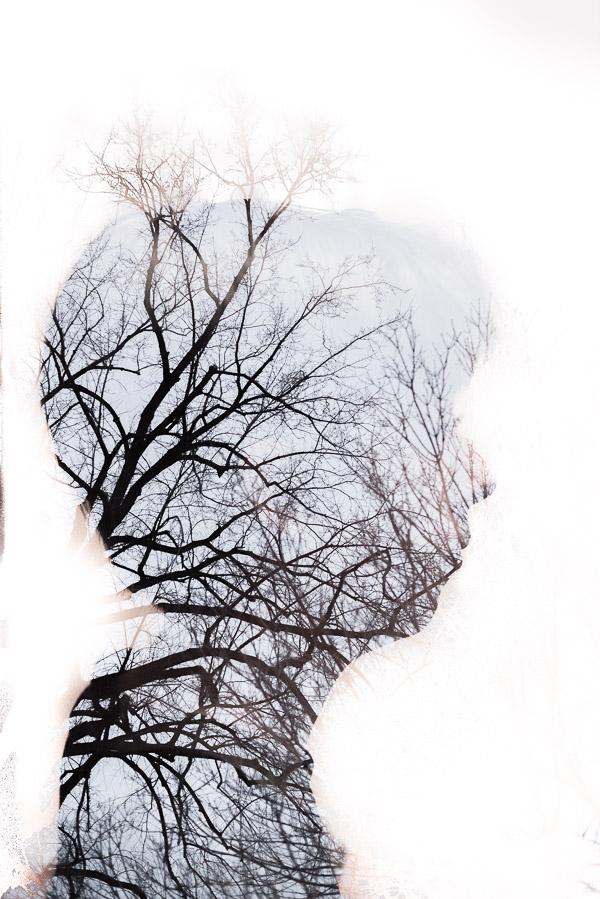 profie with trees double exposure