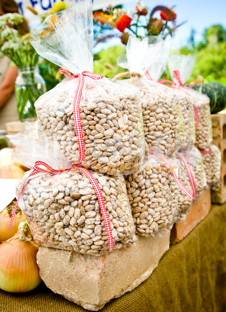 Bags of fresh dried pinto beans on sale at the Cherry Creek Farmer's Market