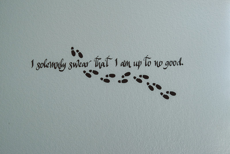 "wall art from Harry Potter that says ""I solemly swear that I'm up to no good"""