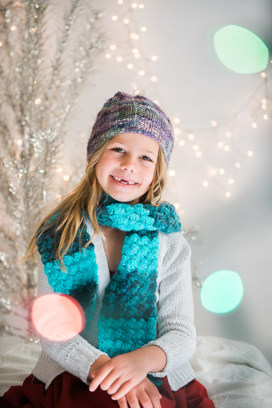 christmas card studio session girl in hat nd scarf