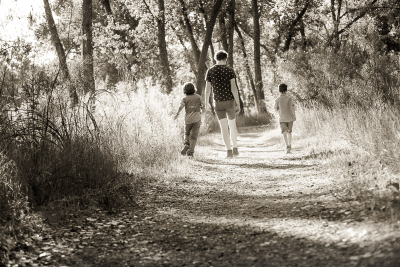 Three boys walking away down a lane