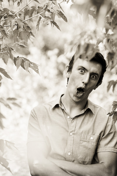 Funny photo of a high school senior boy
