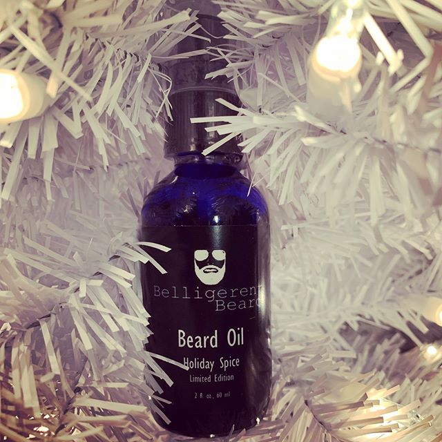 It's that time of year! Our limited edition, Holiday Spice, is back on the shelves. Have a bearded loved one in your life? This is the gift that keeps on giving. • • • • • • • • #belligerentbeard #mensgroomingproducts #handmade #highquality #holidayspice #tistheseason #limitededition #beards #beardedvet #stockingstuffers #giftideasforhim #tameyourbeard #veteranowned #wilmingtonnc #hampsteadnc #portcity #surfcitync #beardoil #thegiftthatkeepsongiving