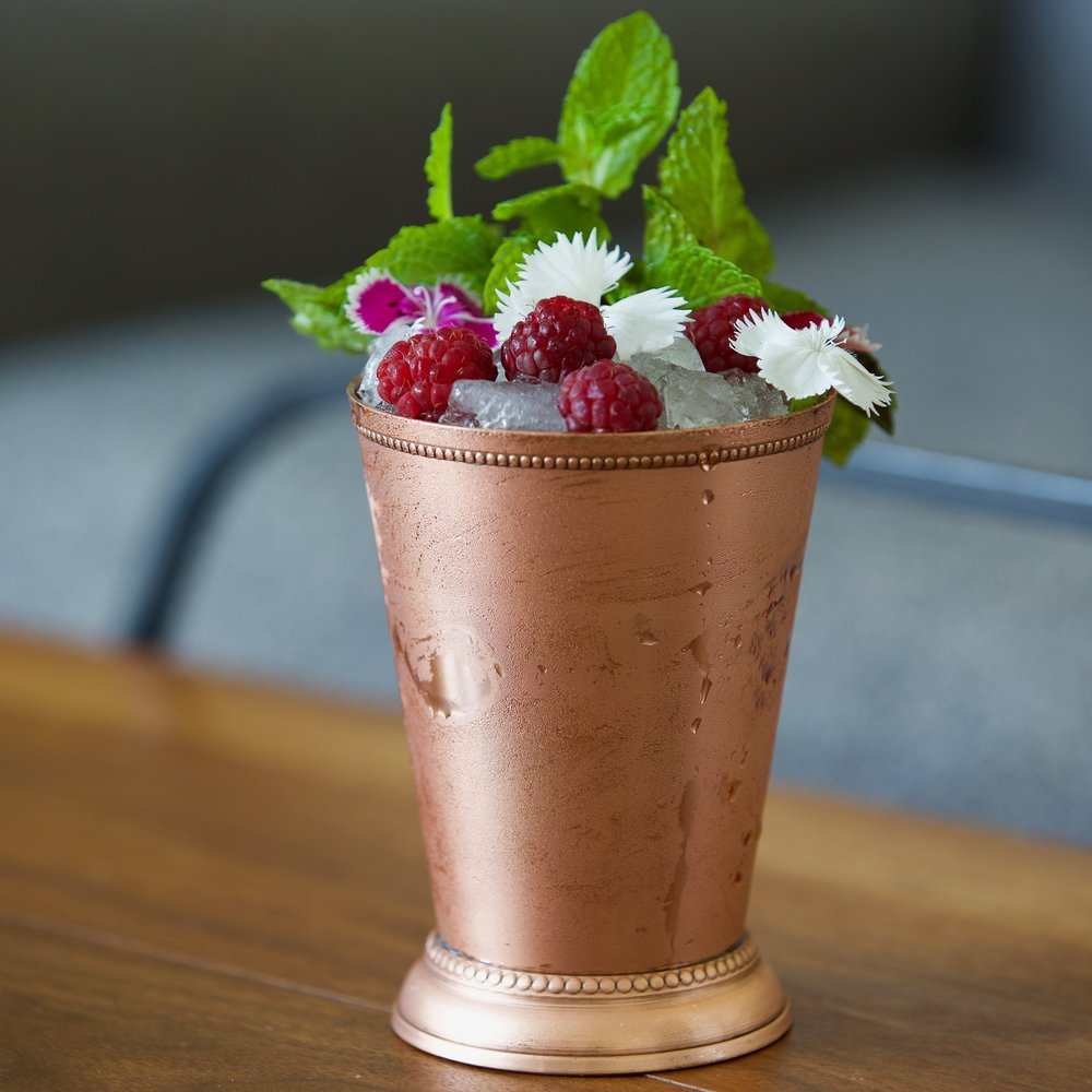 The mint julep pictured here was made by the filmmakers, following this recipe.