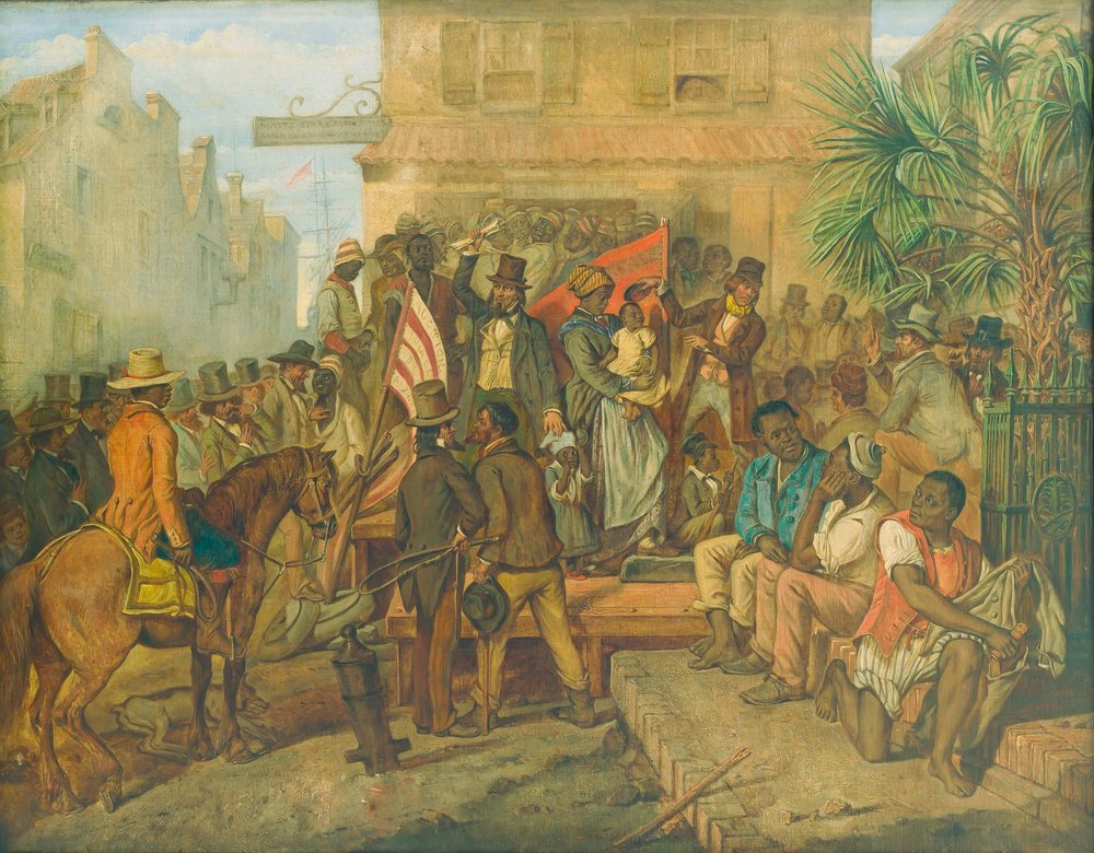 English painter Eyre Crowe first exhibited this work, A Slave Sale in Charleston, South Carolina, at the Royal Scottish Academy in 1854.  As in his other paintings of the trade of enslaved people, Crowe's art channeled his shock following visits to slave markets in Charleston and Richmond during a United States tour with British writer William Thackeray in the early 1850s.  This painting has its own remarkable story; click here to learn more.  (National Museum of Fine Arts, Havana) Click the image to enlarge.