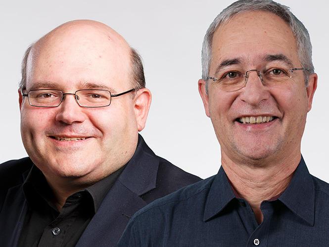 l: Pascal Bassu, 48, Stadtpräsident (neu)     r: Christoph Wachter, 63, Stadtrat (neu)