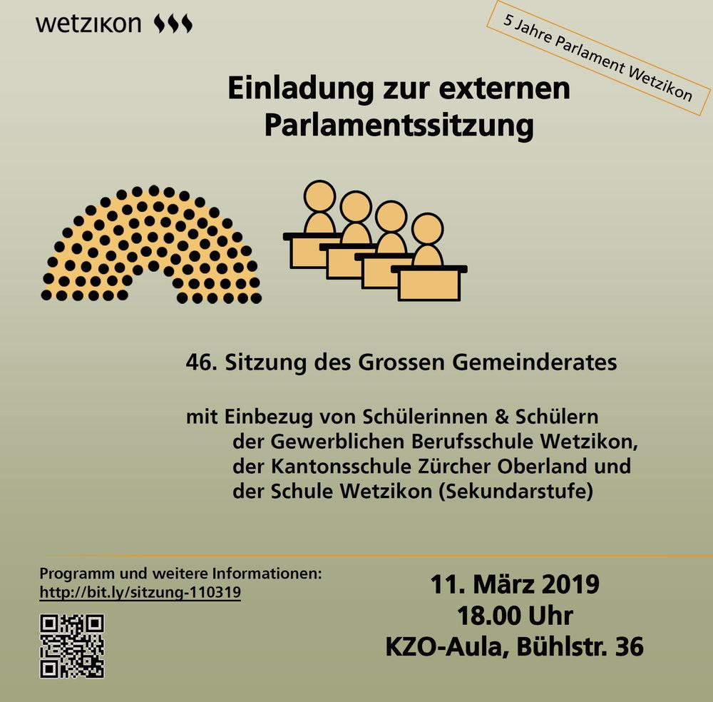 Einladung zur öffentlichen Parlamentssitzung Wetzikon am 11. März in die Kantonsschule Wetzikon KZO.    Hier klicken