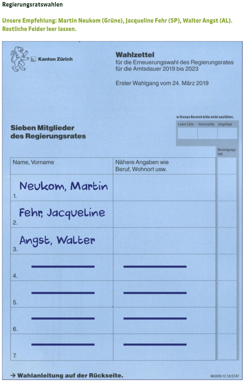 Regierungsrat Wahlzettel, Vorschlag zum ausfüllen