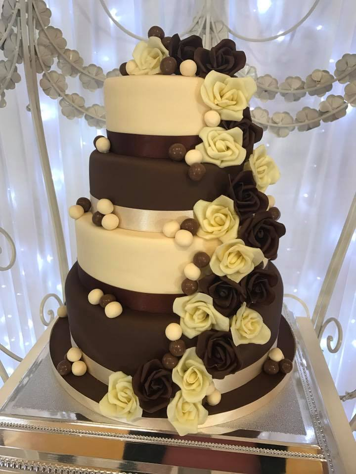 Chocolate Wedding Cake with white and dark chocolate roses