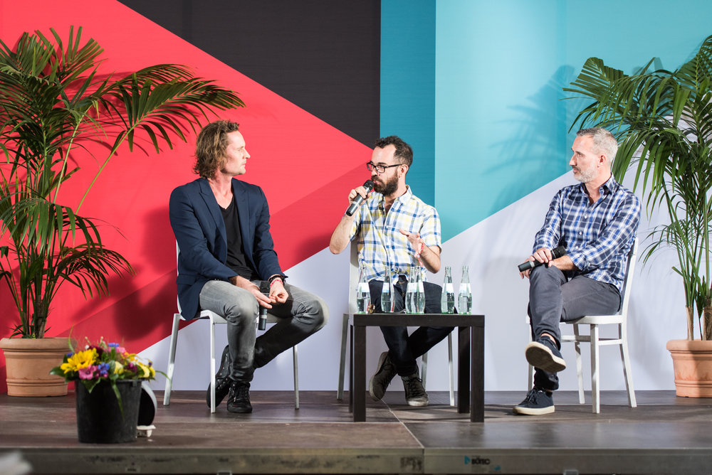 Eric Wahlforss (Founder & CTO, SoundCloud), Peter Kirn (Create Digital Media) und Daniel Haver (CEO, Native Instruments) at Tech Open Air Berlin 2015 (c) Tech Open Air, Credits: Stefan Wieland