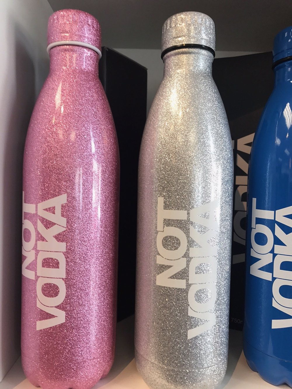 Not Vodka bottles, metallic