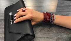 Bon bon ring, custom beaded bracelet stack in Fall colors, and Mackage clutch
