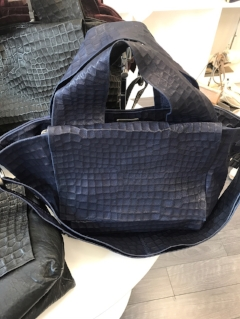 Navy leather handbag by Danielle Lehavi