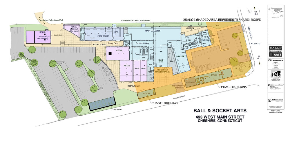 Site plan showing full site design with Phase I scope highlighted in orange.