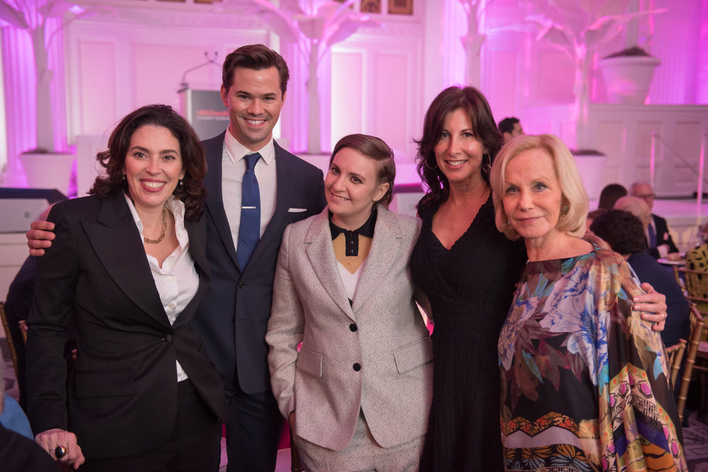 Amy-Cappellazzo-Andrew-Rannells-Lena-Dunham-Lisa-Plepler-Linda-Janklow at ArtsConnection 2016 Benefit.jpg