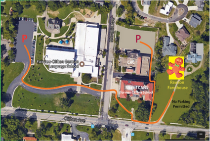 Map of parking options. No parking at Rawson Farmhouse.