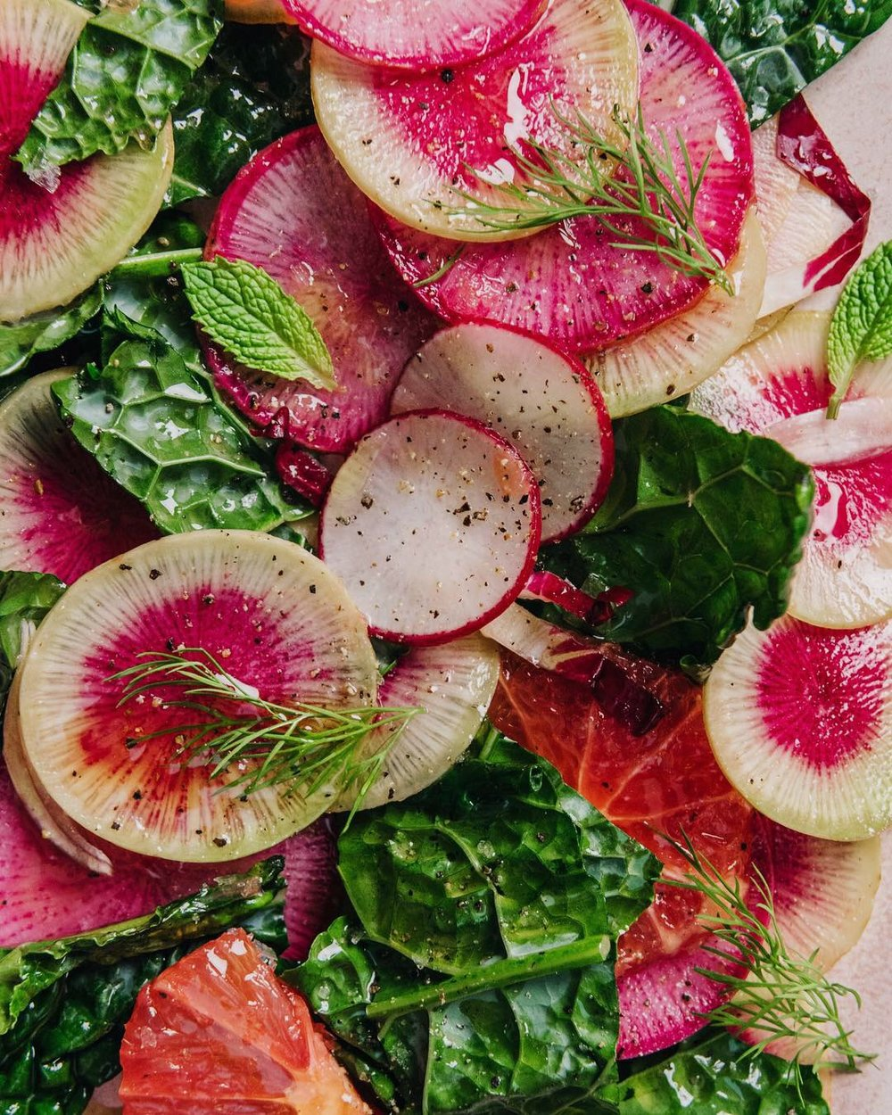 WINTER RADISH AND KALE SALAD WITH CITRUS AND HERBS #recipe #easyrecipe #wintersalads #watermelonradish #foodstyling #sarahcopeland #edibleliving