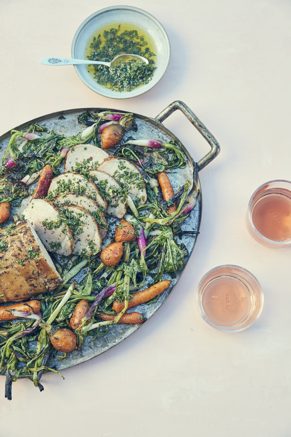 GRILLED PORK WITH SPRING VEGETABLES + CHIMICHURRI  recipe by Chris Lanier // RAVENWOOD