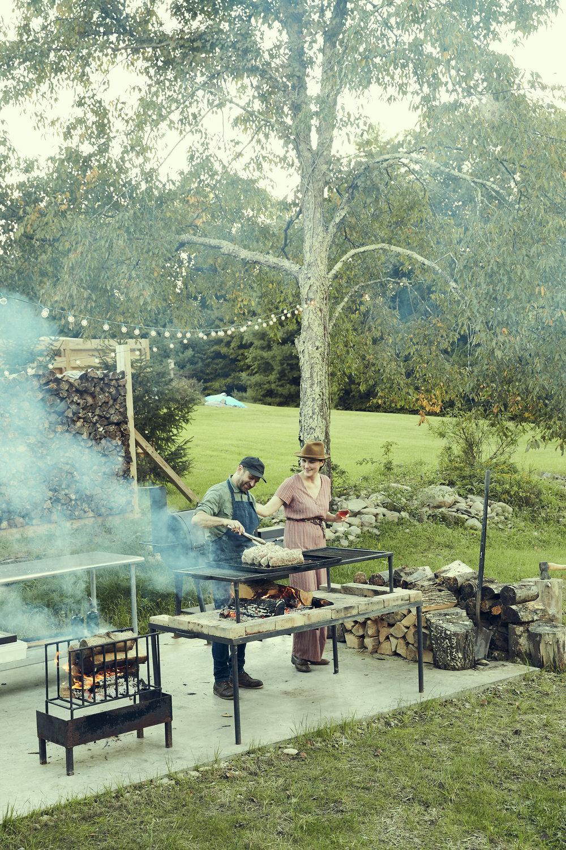 CHRIS LANIER X DANA MCCLURE of RAVENWOOD #feedsupper #outdoorcooking #ravenwood #livefirecooking #upstateny #barnparty