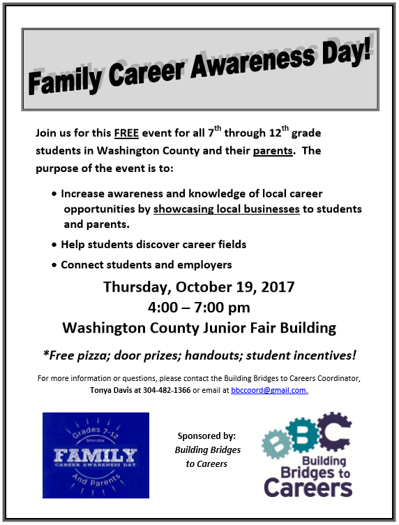 October 19, 2017 - Washington County Junior Fair Building 4-7 p.m.A GREAT opportunity to meet with local employers and learn about career opportunities in the local area.Parents are encouraged to attend with their studentsGet directions here.